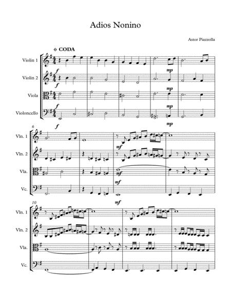 Adios Nonino (Astor Piazzolla) for String Quartet