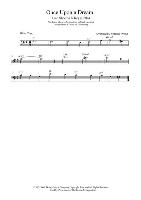 Once Upon A Dream - Cello Solo in G Key (With Chords)