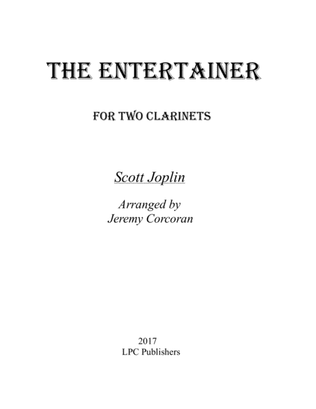 The Entertainer for Two Clarinets