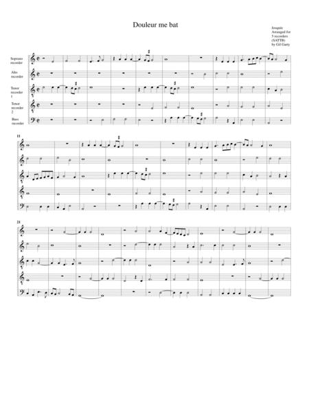 Douleur me bat (arrangement for 5 recorders)