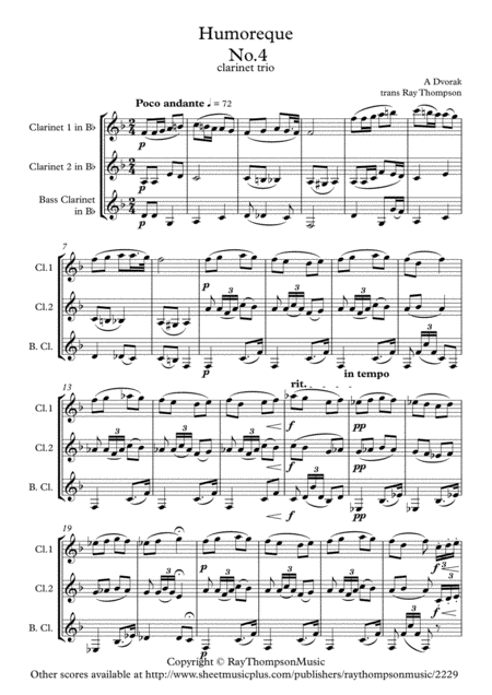 Dvorak: Humoresques Op.101 No.4 - clarinet trio (2 Bb and bass)