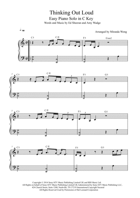Thinking Out Loud - Easy Piano Solo in C Key (With Chords)