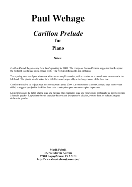 Paul Wehage: Carillon Prelude for piano