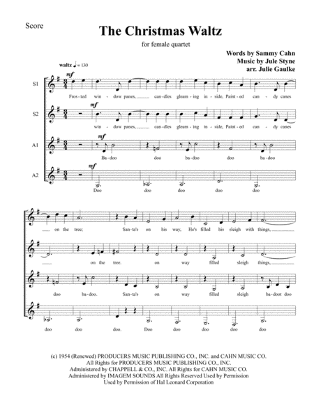 The Christmas Waltz SSAA female quartet a cappella