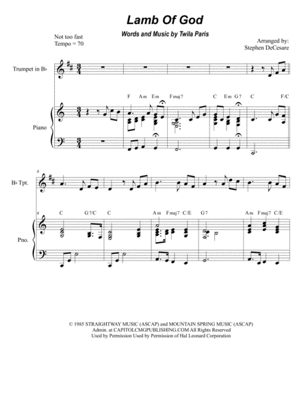 Lamb Of God (Duet for Bb-Trumpet and French Horn)