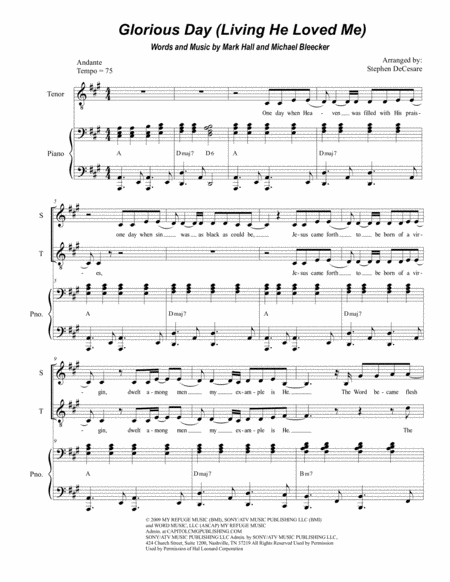 Glorious Day (Living He Loved Me) (Duet for Soprano and Tenor Solo)