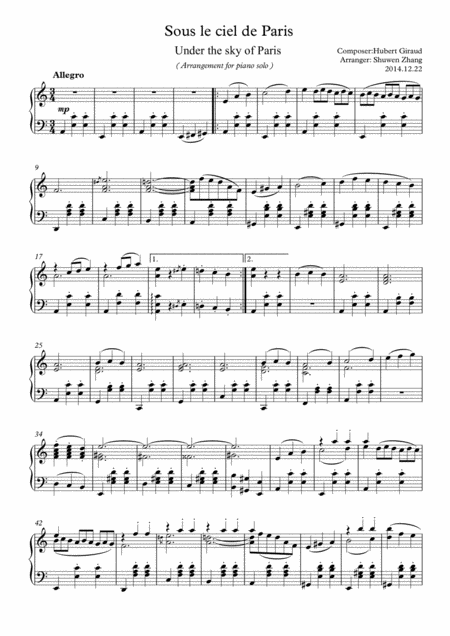 Under the sky of Paris(for solo piano)