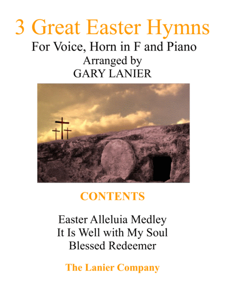 3 GREAT EASTER HYMNS (Voice, Horn in F & Piano with Score/Parts)