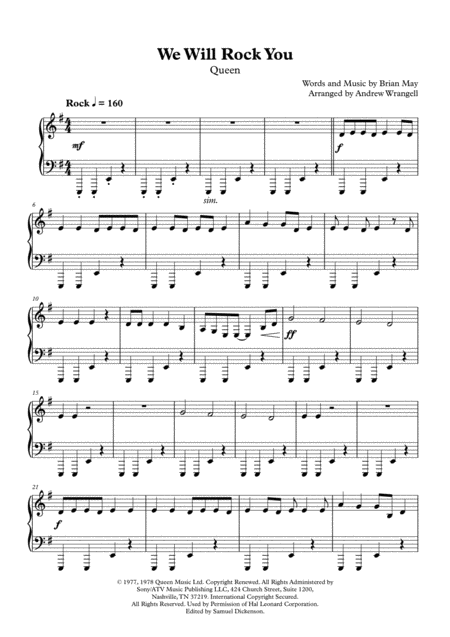 We Will Rock You (Easy Piano)