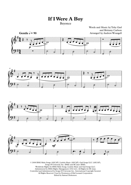 If I Were A Boy (Easy Piano)
