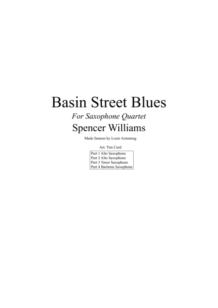 Basin Street Blues. For Saxophone Quartet