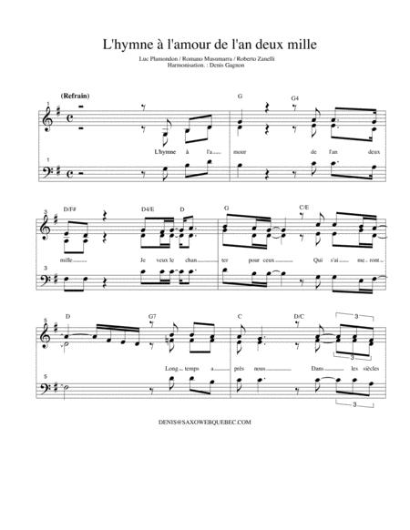 L'hymne à l'amour de l'an 2000 (partition de piano d'accompagnement)
