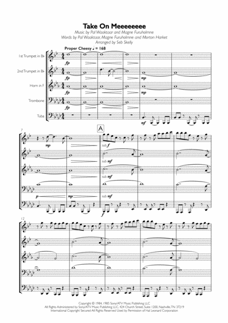 Take on Me - a-ha sheet music for Piano download free in ...