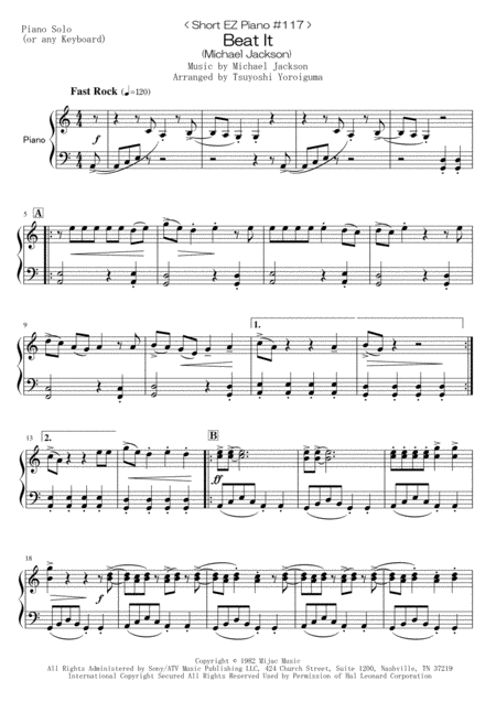 < Short EZ Piano #117 > Beat It (Michael Jackson)