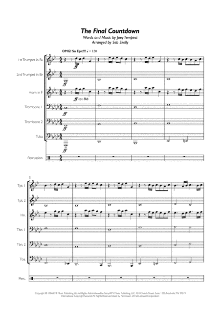 Europe - Final Countdown for Brass Sextet