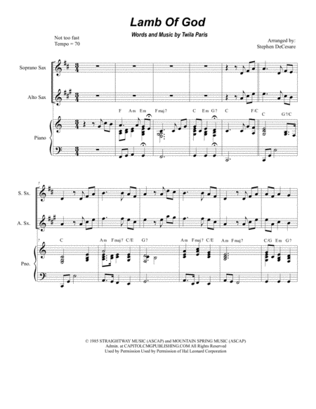 Lamb Of God (for Saxophone Quartet)