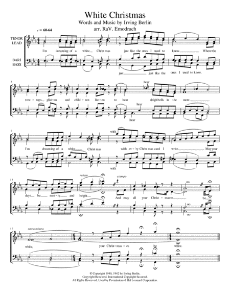 White Christmas, TTBB a cappella