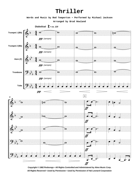 Thriller for Brass Quintet
