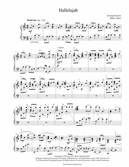 Hallelujah (Advanced Piano Arrangement)