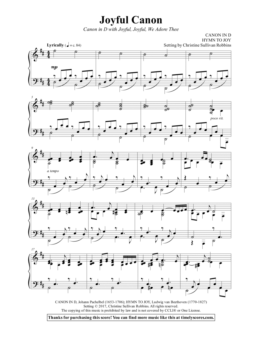 Joyful Canon (Canon in D with Joyful, Joyful, We Adore Thee)