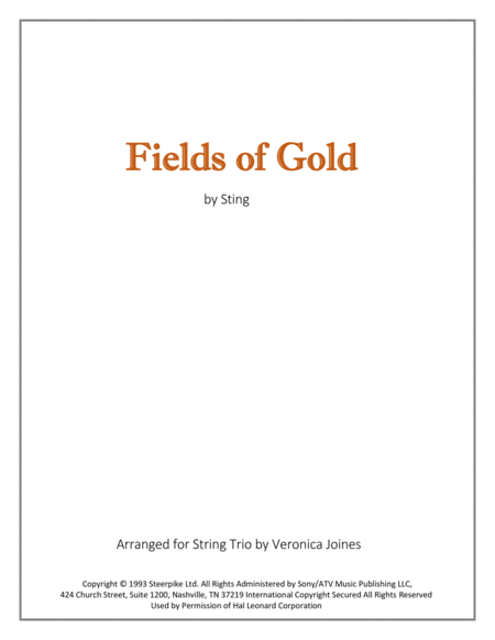 Fields Of Gold for String Trio (Violin, Viola, Cello)