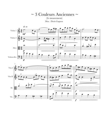 Trois couleurs anciennes (2) pour Quatuor à cordes (Score et partitions)