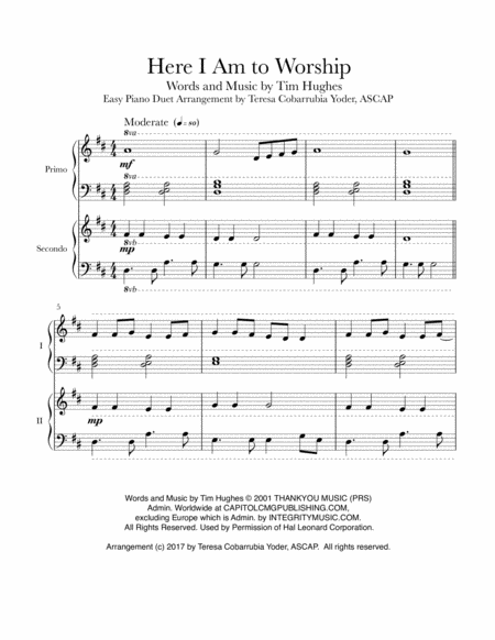 Here I Am To Worship - Easy Piano Duet
