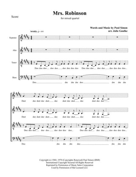 Mrs. Robinson (Simon & Garfunkel) for Mixed Quartet a cappella