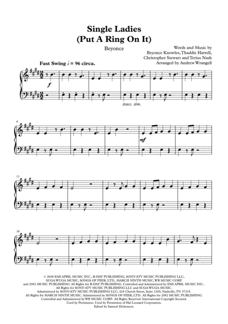 Single Ladies (Put A Ring On It) (Easy Piano)