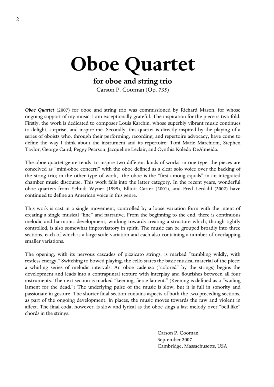 Carson Cooman: Oboe Quartet (2007) for oboe and string trio