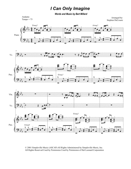 I Can Only Imagine (Duet for Violin and Cello)