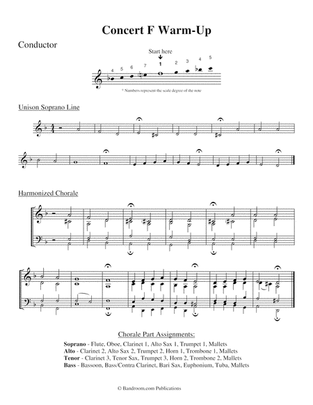 CONCERT F WARM-UP (concert band; score, parts, license to copy)