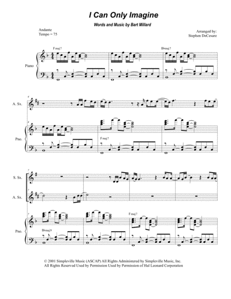 I Can Only Imagine (Duet for Soprano and Alto Saxophone)