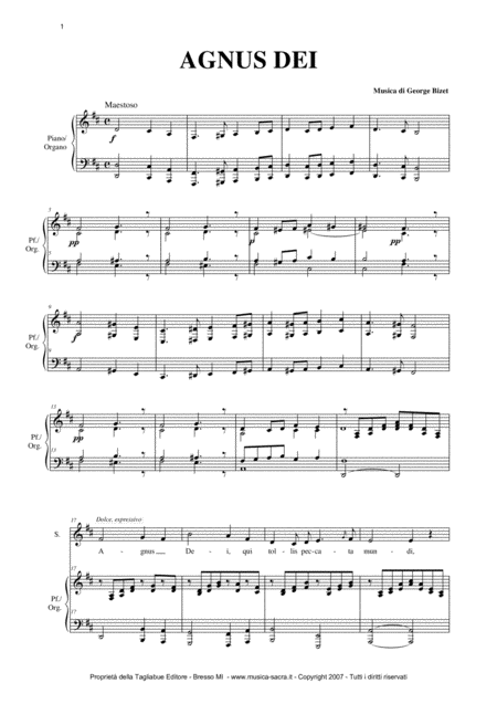 AGNUS DEI - G. Bizet - Arr. for Alto and Organ/Piano