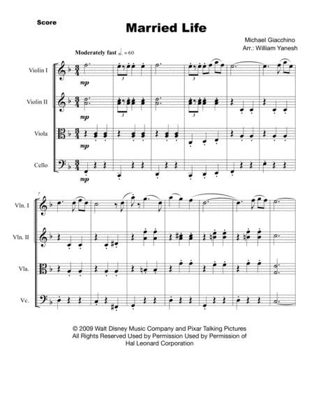 Married Life (from UP) for String Quartet