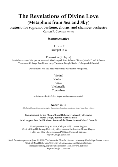 Carson Cooman: The Revelations of Divine Love (Metaphors from Sea and Sky) (2009) oratorio for soprano and baritone soloists, SATB chorus, and chamber orchestra, vocal score