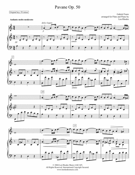 Pavane by Gabriel Fauré; arranged for Flute and Piano