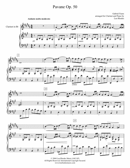 Pavane by Gabriel Fauré; arranged for Clarinet in Bb and Piano