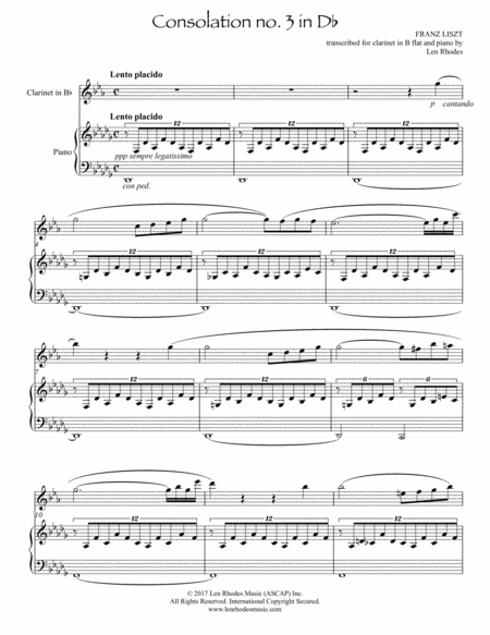 Consolation in D flat by Franz Liszt, for Bb clarinet and piano