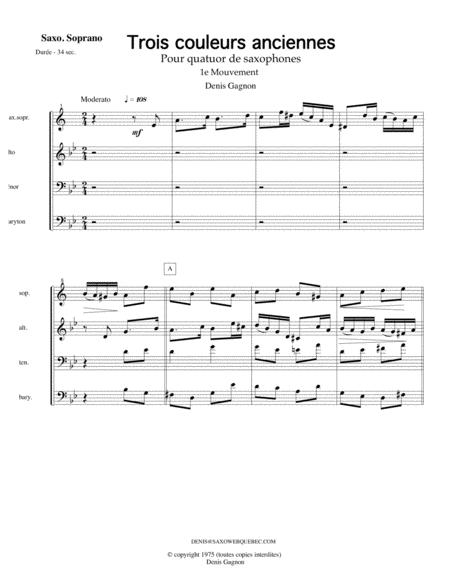 Trois couleurs anciennes (1e mouvement) Pour Quatuor de saxophones (Score et 4 partitions (SATB)