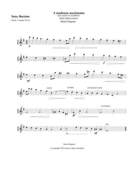 Trois couleurs anciennes (2e mouvement) pour Quatuor de saxophones (Score et 4 partitions SATB)
