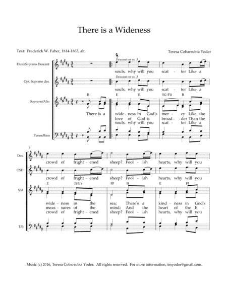 There is a Wideness - A New Melody with SATB and descant