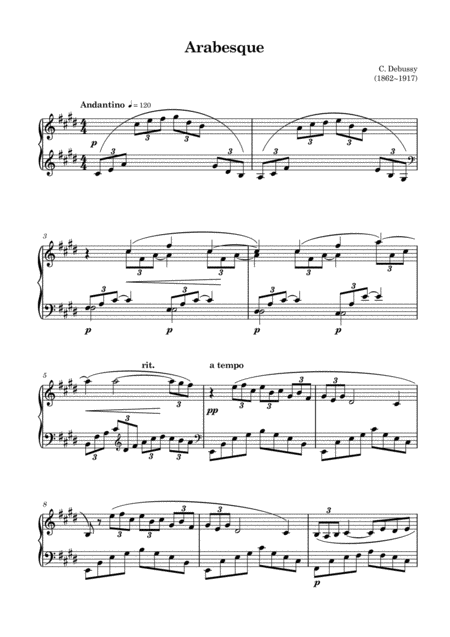 Claude Debussy-Arabesque No.1 in E major