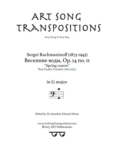 Spring waters, Op. 14 no. 11 (G major, bass clef)