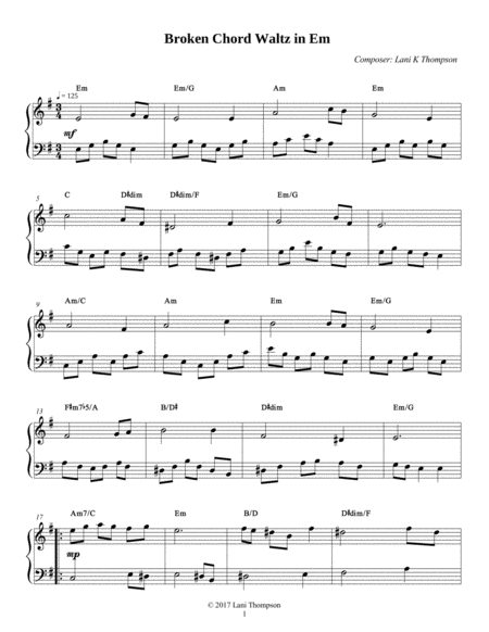 Broken Chord Waltz in Em