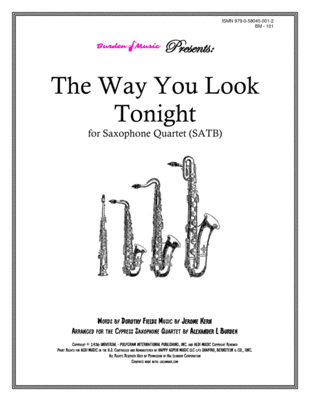 The Way You Look Tonight for Saxophone Quartet (SATB)
