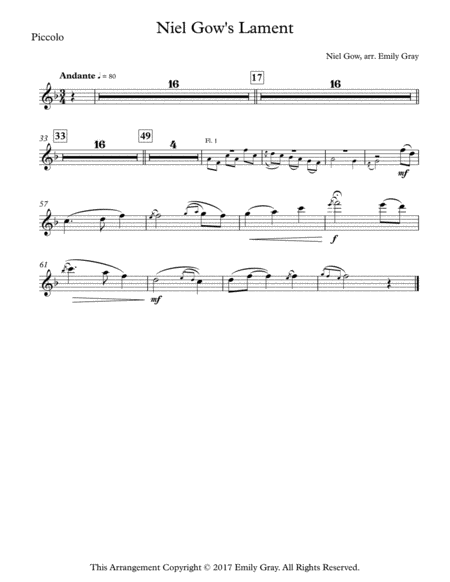 Niel Gow's Lament (Concert Band - Parts)