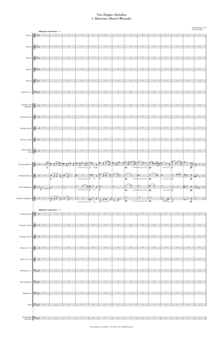 Two Elegiac Melodies for Wind Ensemble (Score)