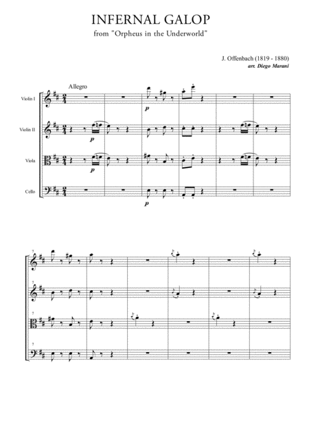 Infernal Galop (Can Can) for String Quartet