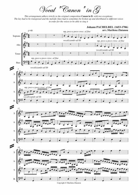 J. Pachelbel: (Vocal) CANON (in G), for SATB choir a cap.
